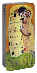 Portable Battery Charger featuring the painting The Smooch by Randol Burns