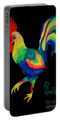Portable Battery Charger featuring the painting El Gallo by Marisela Mungia