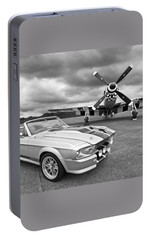 Eleanor Mustang With P51 Black And White Portable Battery Charger by Gill Billington
