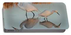 Elegant Big And Small Great White And Snowy Egrets Portable Battery Charger