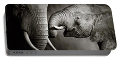 Elephant Affection Portable Battery Charger by Johan Swanepoel