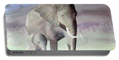 Elephant Family Portable Battery Charger by Laurel Best