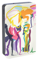Portable Battery Charger featuring the painting Elephant In Color Ecru by Go Van Kampen