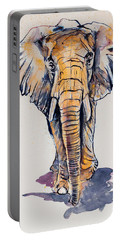 Elephant In Gold Portable Battery Charger by Kovacs Anna Brigitta