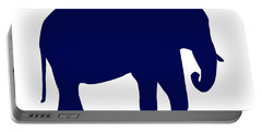 Elephant In Navy And White Portable Battery Charger