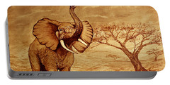 Portable Battery Charger featuring the painting Elephant Majesty Original Coffee Painting by Georgeta  Blanaru