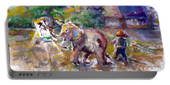 Portable Battery Charger featuring the painting Elephant Painting by Bernadette Krupa