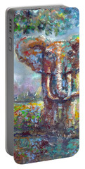 Portable Battery Charger featuring the painting Elephant Thirst by Bernadette Krupa