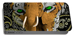 Portable Battery Charger featuring the photograph Elephant Tiger by Gary Keesler