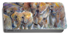 Portable Battery Charger featuring the painting Elephant Walk by Bernadette Krupa