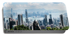 Elevated View Of Skylines, Hong Kong Portable Battery Charger by Panoramic Images