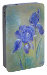 Portable Battery Charger featuring the painting Elizabeth's Irises by Judith Rhue