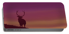 Elk At Dusk Portable Battery Charger by Terry Frederick