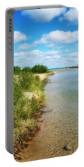 Elk River With Fluffy Clouds Portable Battery Charger