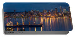 Elliott Bay Seattle Skyline Night Reflections  Portable Battery Charger