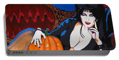 Portable Battery Charger featuring the painting Elvira Dark Mistress by Dale Loos Jr