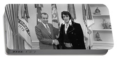 Elvis Presley And Richard Nixon-featured In Men At Work Group Portable Battery Charger