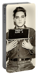 Elvis Presley - Mugshot Portable Battery Charger by Bill Cannon