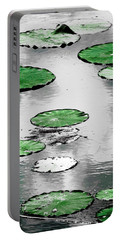 Emerald Green Lotus Leaves Portable Battery Charger