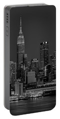 Empire State Building In Christmas Lights Bw Portable Battery Charger
