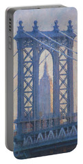 Empire State Building Through The Manhattan Bridge Portable Battery Charger by Jean-Pierre Ducondi