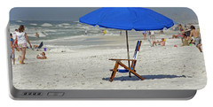 Portable Battery Charger featuring the photograph Empty Beach Chair by Charles Beeler