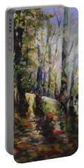 Portable Battery Charger featuring the painting Enchanted Forest by Sher Nasser