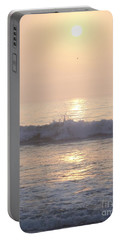 Hampton Beach Wave Ends With A Splash Portable Battery Charger by Eunice Miller