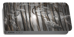 Enigmatic Woods- Shades Of Gray Art Portable Battery Charger