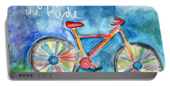 Enjoy The Ride- Colorful Bike Painting Portable Battery Charger by Linda Woods