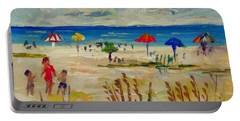 Portable Battery Charger featuring the painting Enjoying Siesta Beach by Lou Ann Bagnall