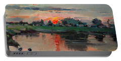 Enjoying The Sunset By Elmer's Pond Portable Battery Charger