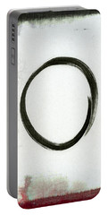 Enso #2 - Zen Circle Abstract Black And Red Portable Battery Charger