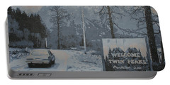Portable Battery Charger featuring the painting Entering The Town Of Twin Peaks 5 Miles South Of The Canadian Border by Luis Ludzska