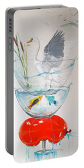 Portable Battery Charger featuring the painting Equilibrium by Lazaro Hurtado