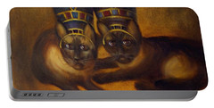 Portable Battery Charger featuring the painting Cats Of Egypt by Randol Burns