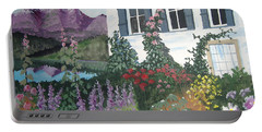 Portable Battery Charger featuring the painting European Flower Garden by Norm Starks