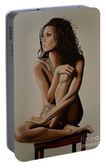 Eva Longoria Painting Portable Battery Charger by Paul Meijering