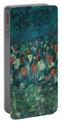 Portable Battery Charger featuring the painting Evening Buds by Mini Arora