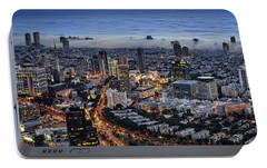 Portable Battery Charger featuring the photograph Evening City Lights by Ron Shoshani