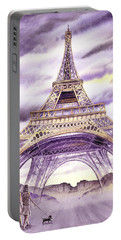 Evening In Paris A Walk To The Eiffel Tower Portable Battery Charger