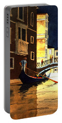 Portable Battery Charger featuring the painting Evening Lights - Venice by Bill Holkham