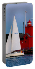 Evening Sail At Holland Light Portable Battery Charger by Nick Zelinsky