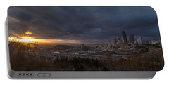 Evening Sunlit Seattle Skyline Portable Battery Charger