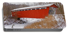 Everett Rd. Covered Bridge In Winter Portable Battery Charger