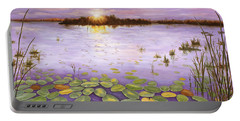 Portable Battery Charger featuring the painting Everglades Evening by Karen Zuk Rosenblatt