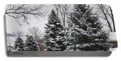 Evergreens In The Snow Portable Battery Charger