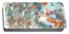 Portable Battery Charger featuring the mixed media Express Graphic by Esther Newman-Cohen