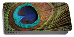 Eye Of The Peacock Portable Battery Charger by Judy Whitton