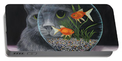 Portable Battery Charger featuring the painting Eye To Eye by Karen Zuk Rosenblatt